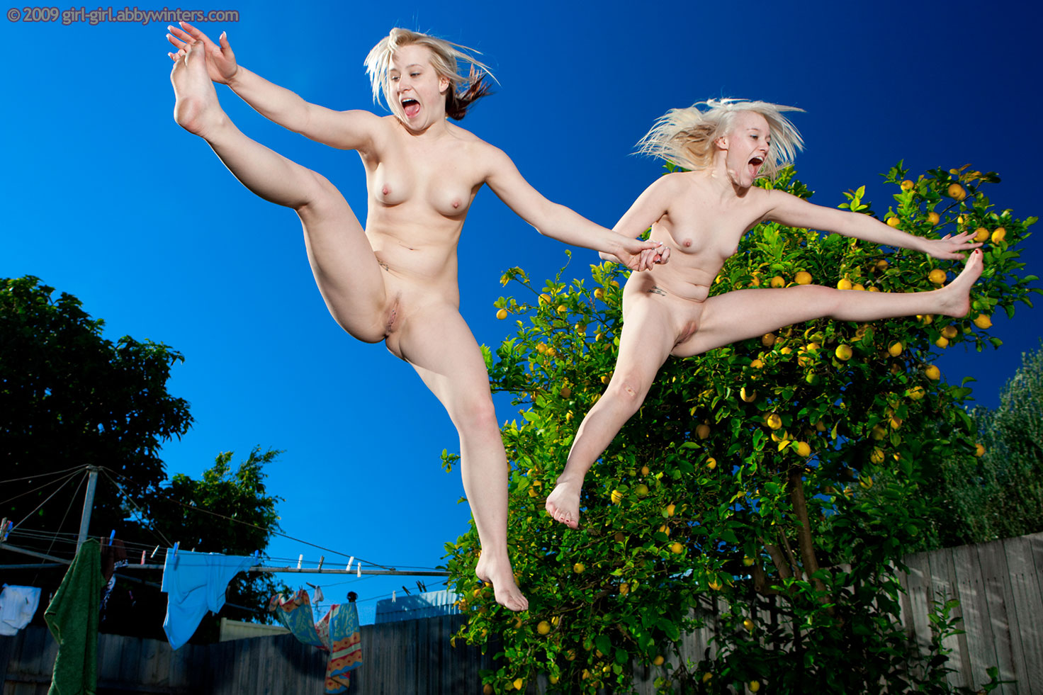 naked girls jumping on trampoline